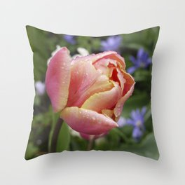 Tulip with soft orange colors I Dewdrops I Love I Photography I Fine art Throw Pillow
