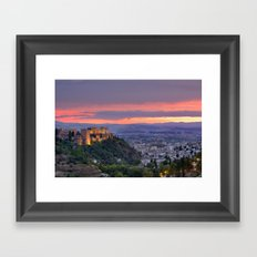 The alhambra and Granada city at sunset Framed Art Print