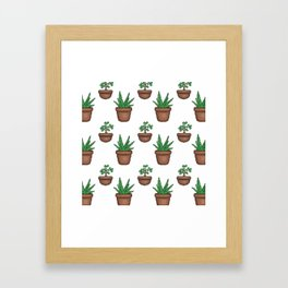 Succulents (pixel pattern) Framed Art Print