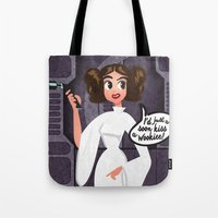 princess leia Tote Bags featuring Princess Leia by GwenILLustrates
