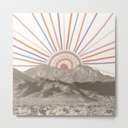 Bohemian Tribal Sun / Abstract Vintage Mountain Happy Summer Vibes Retro Colorful Pastel Sky Artwork Metal Print