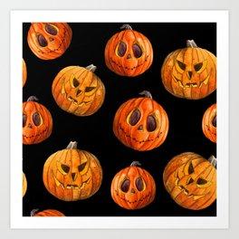 Jack and Jack Halloween pattern in watercolor  Art Print