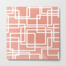 Retro Modern White Rectangles On Coral Metal Print