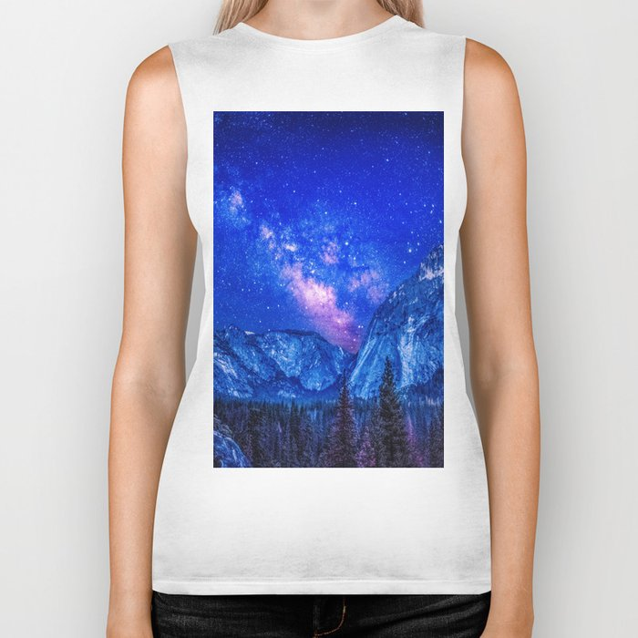 Milky Way Over Mountain Biker Tank