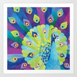 Shanti Sparrow: Priscilla the Peacock Art Print