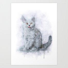 British shorthair kitten watercolor Art Print