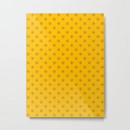 Chocolate Brown on Amber Orange Snowflakes Metal Print