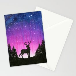Galaxy Forest Reindeer Stationery Cards