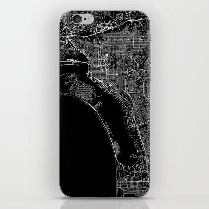 San Diego Black Map iPhone Skin