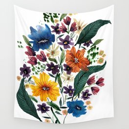 Spring Loose Watercolor Flowers Wall Tapestry