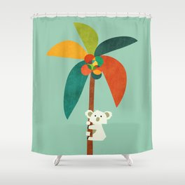 Koala on Coconut Tree Shower Curtain