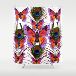 LILAC  FANTASY BUTTERFLIES GREEN PEACOCK EYES Shower Curtain