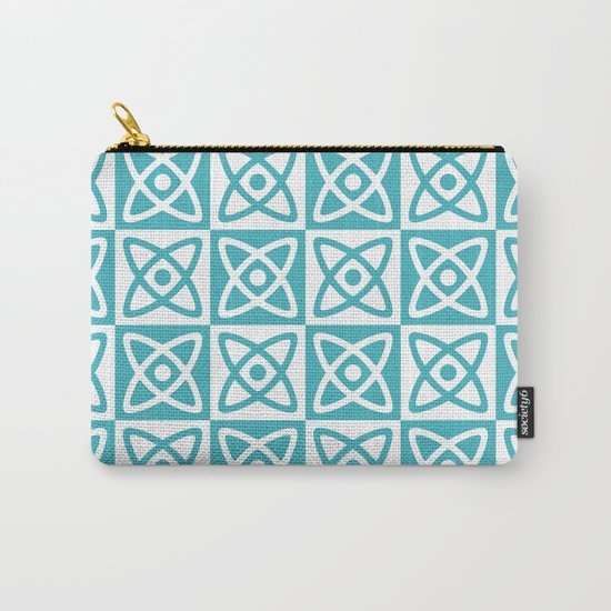 Mid Century Modern Atomic Check 140 Turquoise by tonymagnerdesign