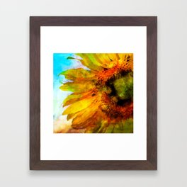 Sunflower on colorful watercolor background - Flowers Framed Art Print