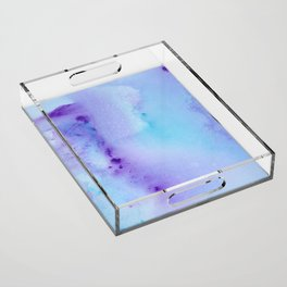 Abstract Watercolor Art Blue And Purple Modern Painting Acrylic Tray