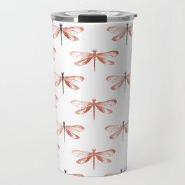 Rose Gold Dragonfly Travel Mug
