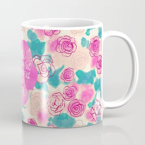 Cute Pink Turquoise Floral Pattern Illustration Mug