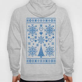 Christmas Cross Stitch Embroidery Sampler Teal And White Hoody