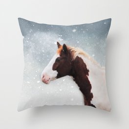 Paint Horse in the Snow Throw Pillow