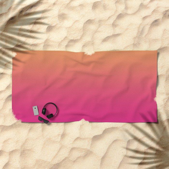 Ombre  digital illustration yellow Magenta colors Beach Towel