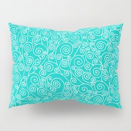 Turquoise Vines Drawing Pillow Sham
