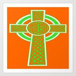 St Patrick's Day Celtic Cross Green and White Art Print