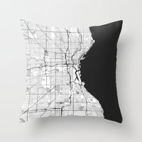 milwaukee Throw Pillows featuring Milwaukee Map Gray by City Art Posters