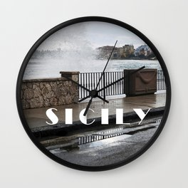 Power of Sea - Giardini Naxos - Sicily Wall Clock
