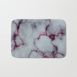 White with Maroon Marbling Bath Mat