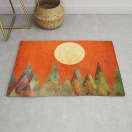 Many Moons Ago, Abstract Landscape Art Rug