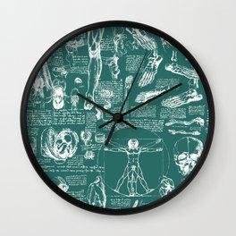 Da Vinci's Anatomy Sketchbook // Genoa Green Wall Clock