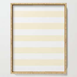 Cornsilk - solid color - white stripes pattern Serving Tray
