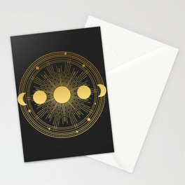 Abstract composition with sun, moon, orbits and stars on black background. Stationery Cards