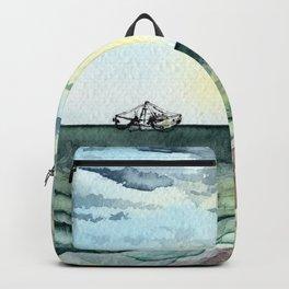 Watercolor Shrimp Boat Beach Scene Backpack