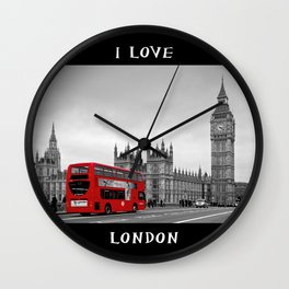 Black and White London with Red Bus Wall Clock
