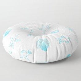 Sea Creatures Pattern - Light Blue Floor Pillow