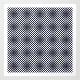 Peacoat and White Polka Dots Art Print