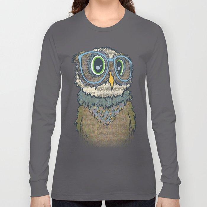 Owl wearing glasses Long Sleeve T-shirt