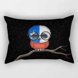 Baby Owl with Glasses and Chilean Flag Rectangular Pillow