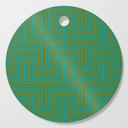 Doors & corners op art pattern in olive green and aqua blue Cutting Board