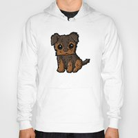 caleb troy Hoodies featuring Troy - Silky Terrier by Sylvester Pyke