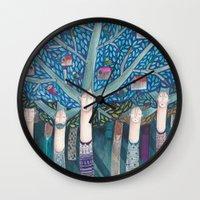 central park Wall Clocks featuring Central Park by kürtiandi