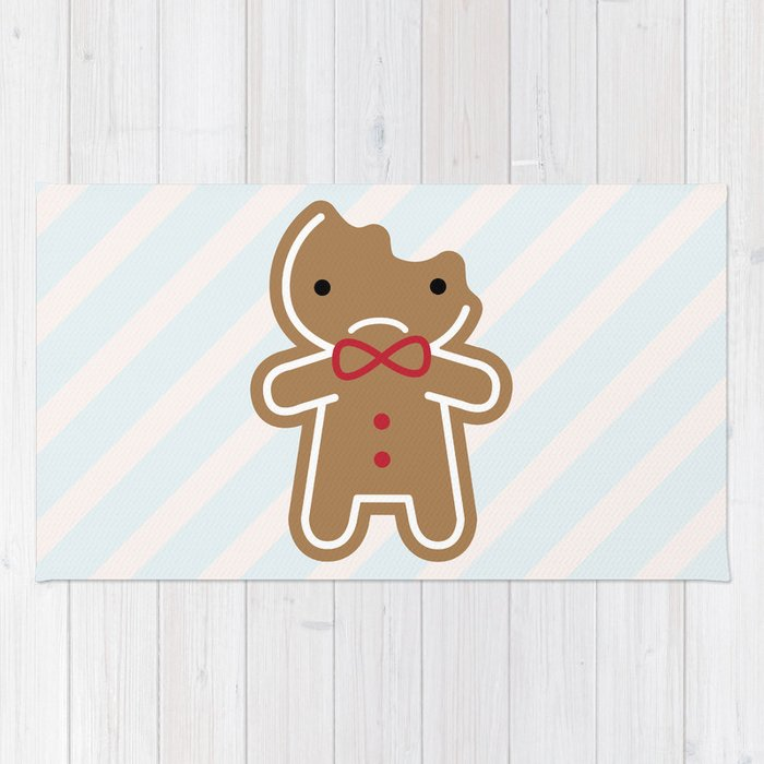 Sad Bitten Cookie Cute Gingerbread Man Rug