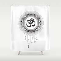 ohm Shower Curtains featuring Ohm Mandala by Lea Gregersen