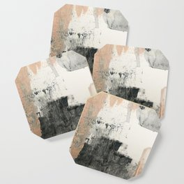 Peace and Quiet [1]: a pretty, minimal abstract piece in gray and peach by Alyssa Hamilton Art Coaster