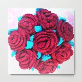 Crocheted Roses Metal Print