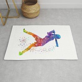 Girl Baseball Softball Batter Sports Art Colorful Watercolor Gift Rug