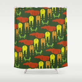 Green Moose Pattern Shower Curtain