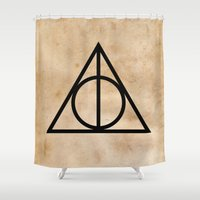 deathly hallows Shower Curtains featuring Deathly Hallows on Parchment (Black) by Hannah Ison