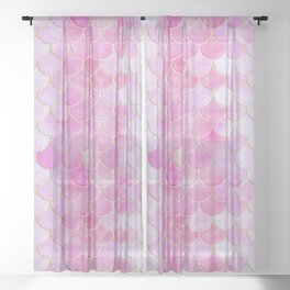 Pink Pearlescent Mermaid Scales Pattern Sheer Curtain